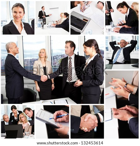 Set of various business images in the office - stock photo