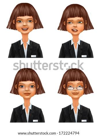 Set of various cartoon businesswoman faces, avatar, raster illustration  - stock photo