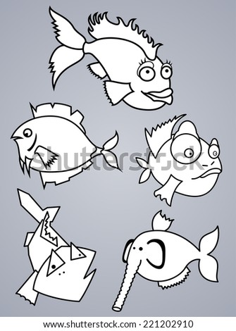 Set of various cartoon fishes silhouettes, black and white