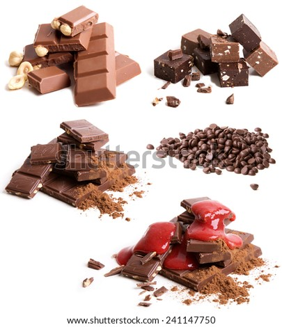 Set of various chocolate on white background - stock photo