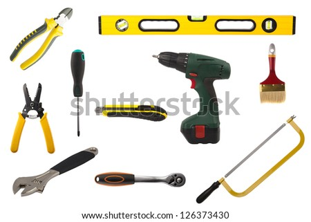 Set of various craftsman tools isolated on white