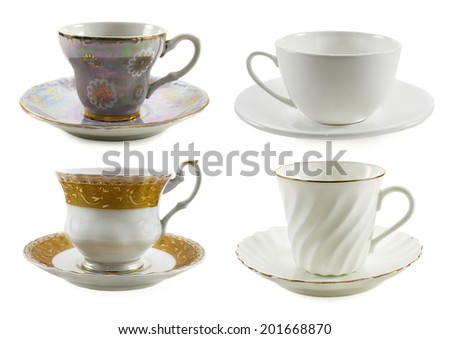 Set of various cups isolated on white - stock photo