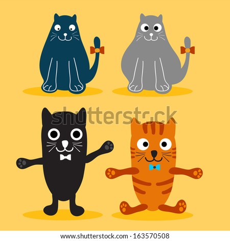 Set of Various Cute Cats