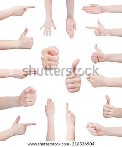 set of various female hand gesture isolated on white background