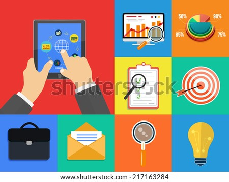 Set of various financial service items, business management symbol, marketing items and office equipment. Set for web and mobile applications in flat design. Raster version - stock photo