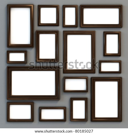 set of various frames for photographs or paintings - stock photo