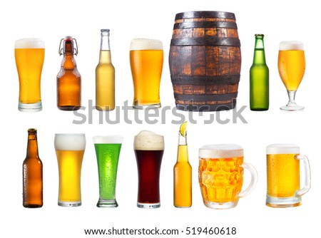 set of various glasses, mugs and bottles of beer isolated on white background