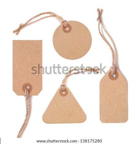 Set of various grungy aged paper tags