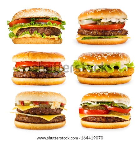 set of various hamburgers isolated on white background - stock photo