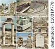 set of various images of the ancient city of Hiyeropolis, Pamukkale, Turkey - stock photo