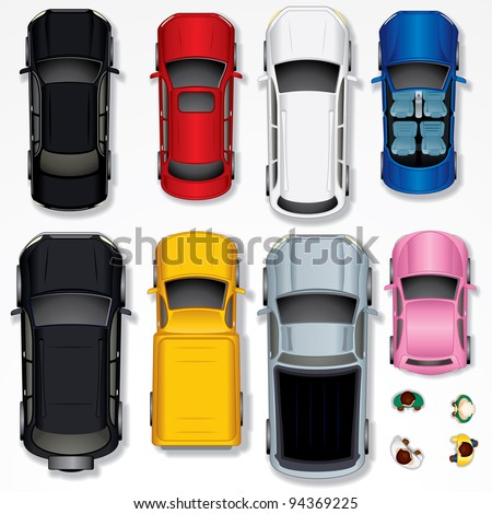 Set of Various Isolated Cars, Top View Position - stock photo