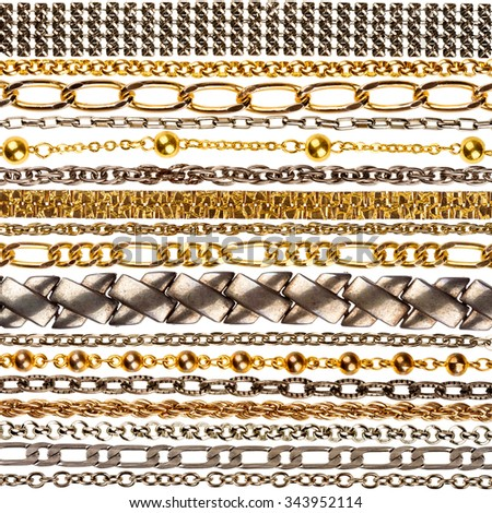 Set of various jewelry chains isolated on white background, each one shot separately  - stock photo