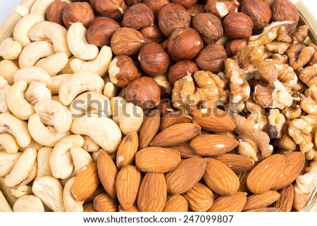 Set of various nuts in bowl as a background