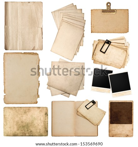 set of various old paper sheets and pictures. vintage photo album and book pages, cards, pieces isolated on white background - stock photo