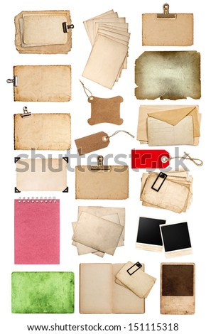 set of various old paper sheets and tags. vintage photo album and book pages, cards, pieces isolated on white background. big collection