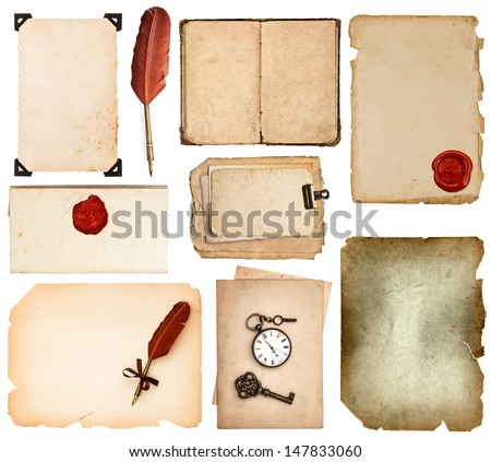 set of various old paper sheets. vintage book pages, cards, photos, pieces isolated on white background. antique vintage accessories ink pen and wax seal - stock photo