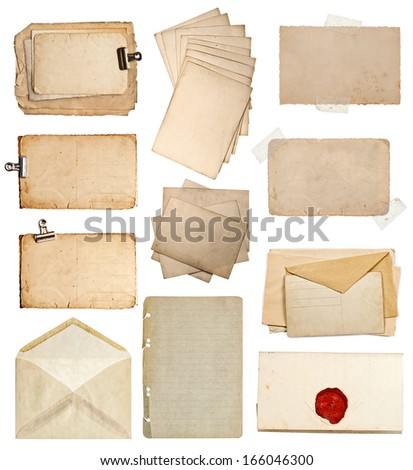 set of various old paper sheets. vintage photo album and book pages, cards, envelopes isolated on white background