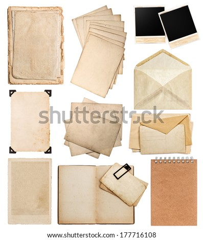 set of various old paper sheets. vintage photo album and book pages, cards, frames, pieces isolated on white background - stock photo