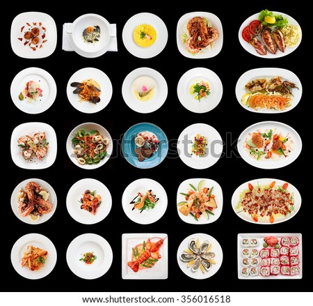 Set of various seafood dishes isolated on black background - stock photo
