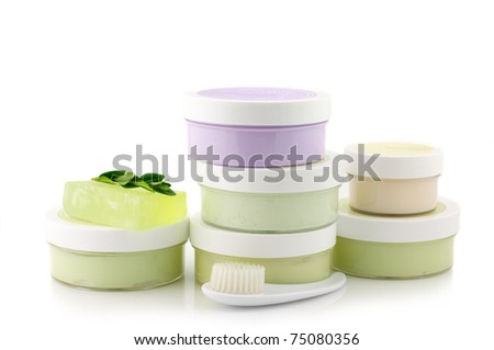 Set of various SPA cosmetics isolated on white background. - stock photo