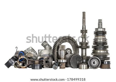 Set of various spare parts of engine and gear box - stock photo