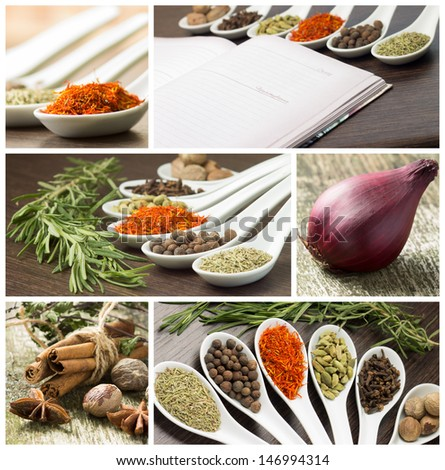 Set of various spices and food ingredients - stock photo