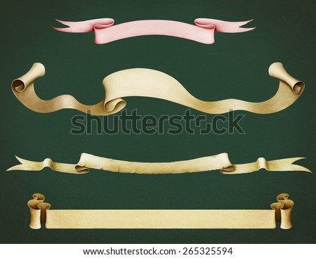 Set of various vintage paper banners - stock photo