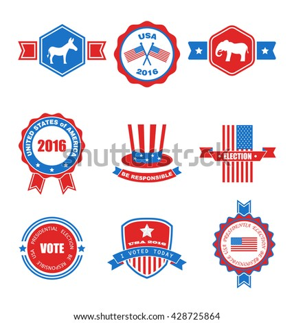 Set of Various Voting Graphics Objects and Labels, Emblems, Symbols, Icons and Badges for Vote USA. Templates and Design Elements. Isolated on White Background - raster - stock photo