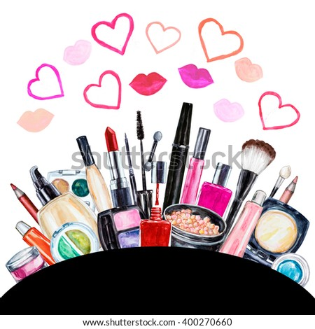 Set of various watercolor decorative cosmetic. Makeup products, beauty items, mascara, lipstick, foundation cream, brushes, eye shadow, nail polish, powder, lip gloss. Hand drawn makeup cosmetics - stock photo