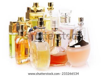 Set of various woman perfumes isolated o white background. - stock photo