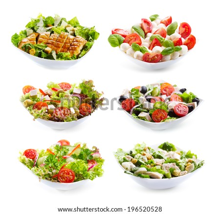 set of varioust salads on white background