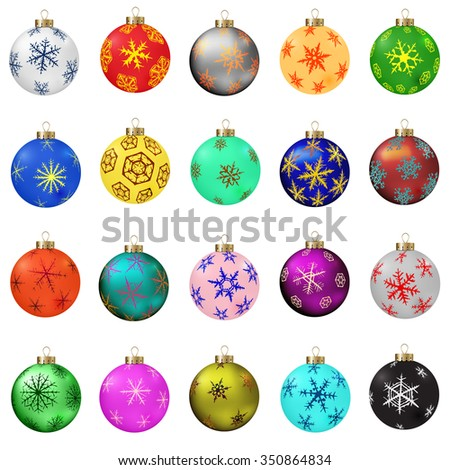 Set of vector Christmas balls with snowflakes ornament. Raster version. - stock photo