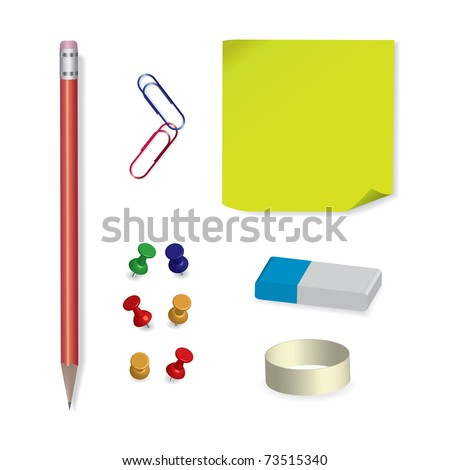 Set of vector office and school supplies - raster version of vector ID 69969913 - stock photo