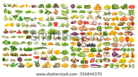 set of vegetable and fruit isolated on white background - stock photo