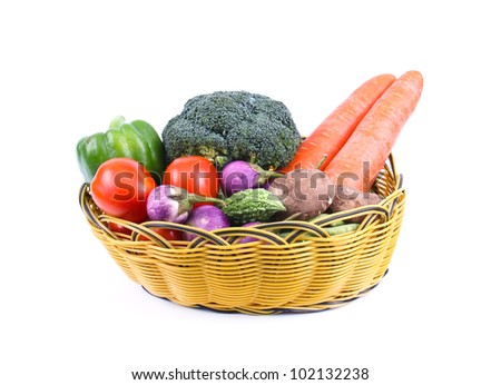 set of vegetable in basket isolated on white background