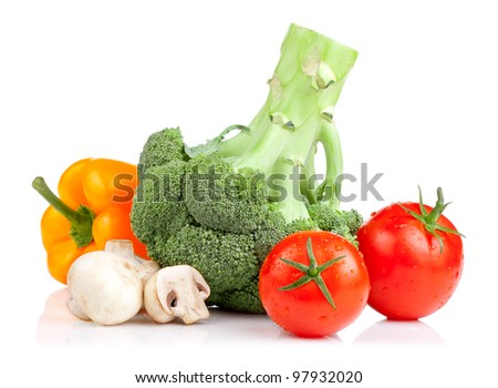 Set of vegetables: Broccoli, tomatoes, mushrooms and yellow pepper isolated on white background - stock photo