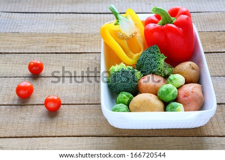 set of vegetables in a baking dish, food closeup