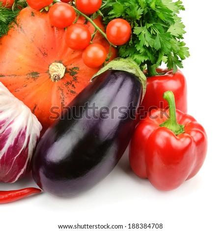 set of  vegetables isolated on white background - stock photo