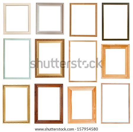 set of vertical picture frames with cutout canvas isolated on white background - stock photo