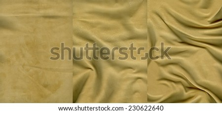 Set of very soft yellow suede leather textures for background - stock photo