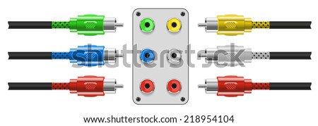 Set of Video and audio connectors - stock photo