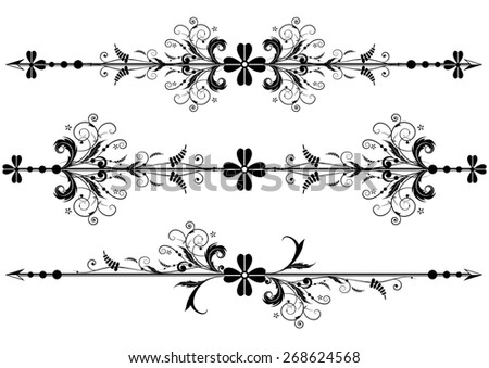set of  vignette with clover and arrows - stock photo