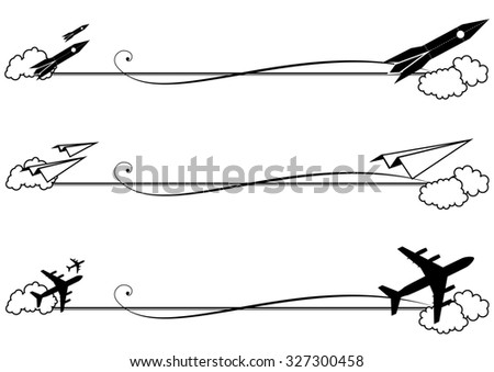 set of  vignettes with rocket and airplane in black and white colors - stock photo