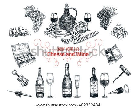 Set of vine and cheese elements. Vector illustration in sketch style. Hand drawn design elements.  - stock photo