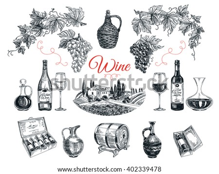 Set of vine products. Illustration in sketch style. Hand drawn design elements.  - stock photo