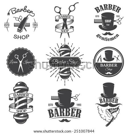 Set of vintage barber shop emblems, label, badges and designed elements. Monochrome linear style - stock photo