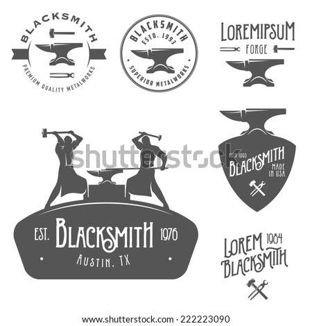 Set of vintage blacksmith labels and design elements - stock photo