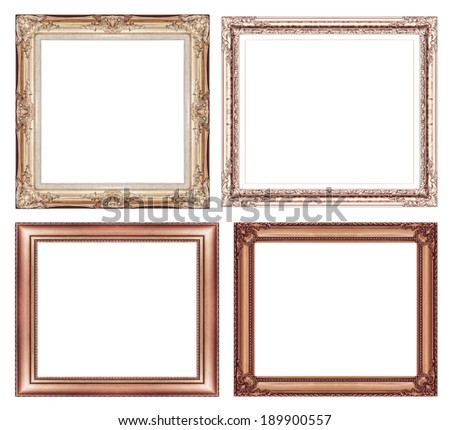 set of vintage brown frame with blank space and clipping path.