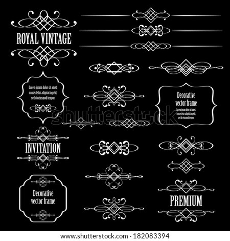 set of vintage calligraphic design elements and page decor isolated on black background. raster copy. - stock photo