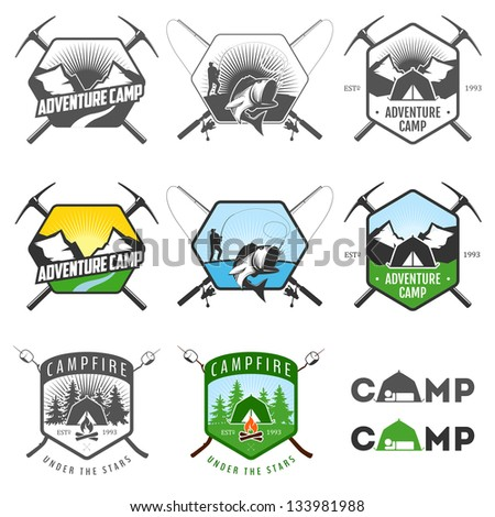Set of vintage camping labels and badges - stock photo
